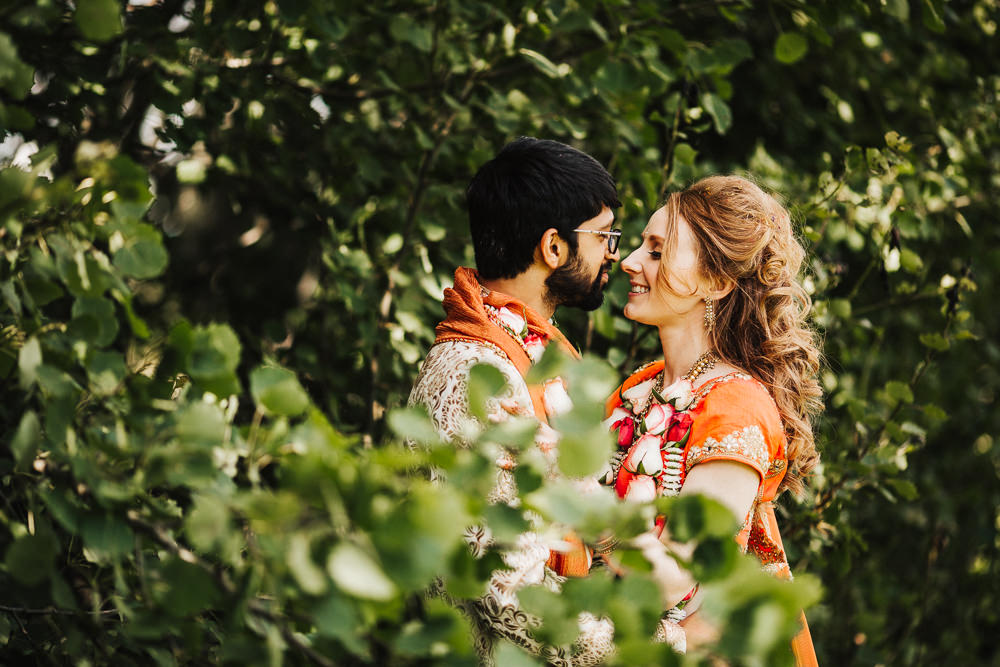 Styal Lodge Multicultural English Pink Orange Traditional Outfits Bride Groom Forest Field | Modern and Colorful Indian Wedding Emilie May Photography