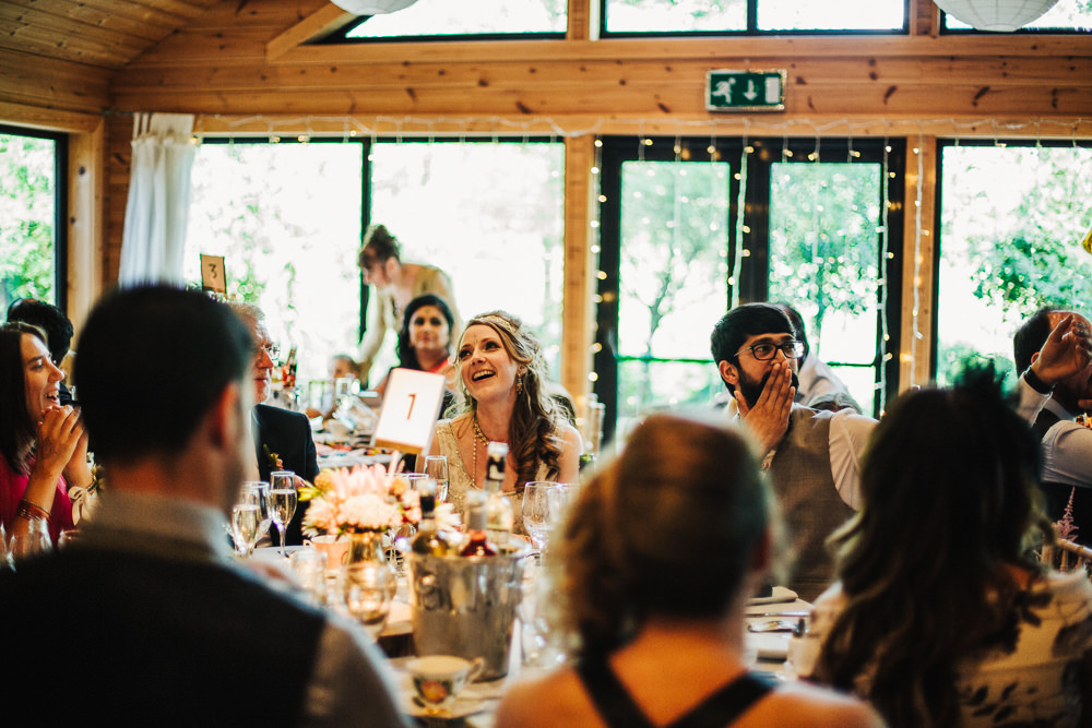 Styal Lodge Multicultural English Bride Groom Speeches Wooden Barn | Modern and Colorful Indian Wedding Emilie May Photography