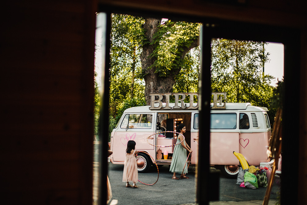 Styal Lodge Multicultural English Pink Campervan Photobooth Hula Hoops | Modern and Colorful Indian Wedding Emilie May Photography