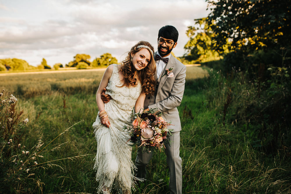 Styal Lodge Multicultural English Bride Groom Sunset Field Outdoors Portraits | Modern and Colorful Indian Wedding Emilie May Photography