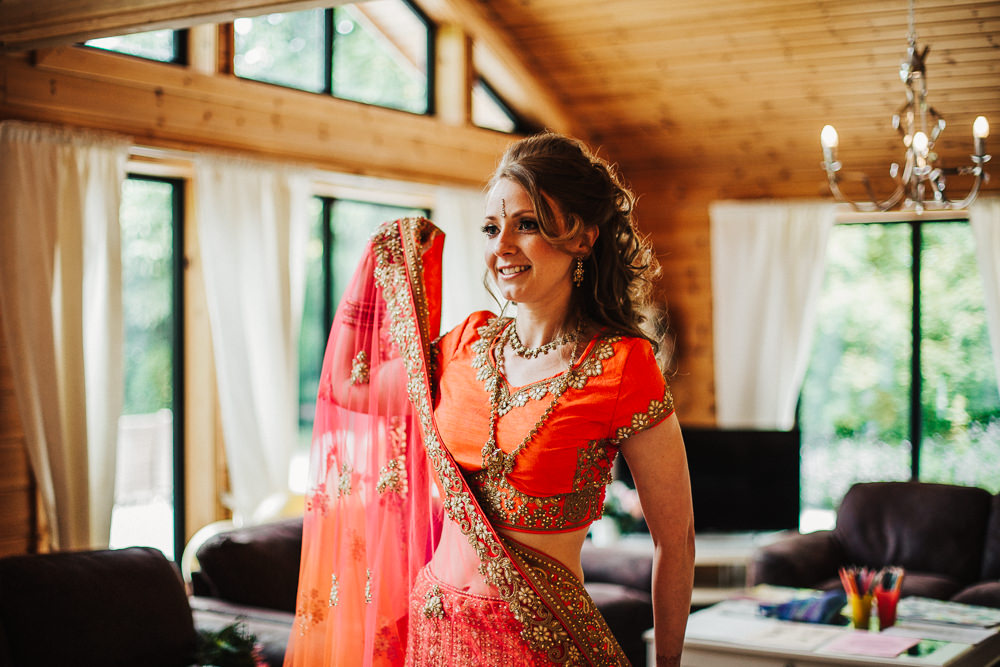 Styal Lodge Multicultural English Orange Pink Bride Lengha Henna | Modern and Colorful Indian Wedding Emilie May Photography