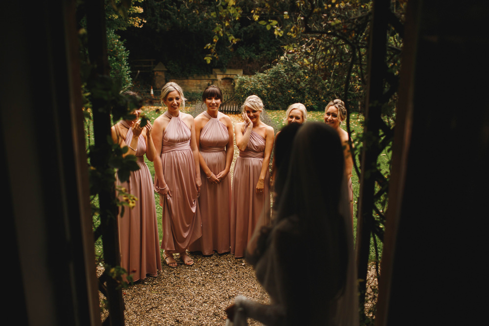 Cotswolds Royal Castle Summer Autumn Traditional Classic Elegant Bride Veil Pink Bridesmaids First Look | Sudeley Castle Wedding ARJ Photography