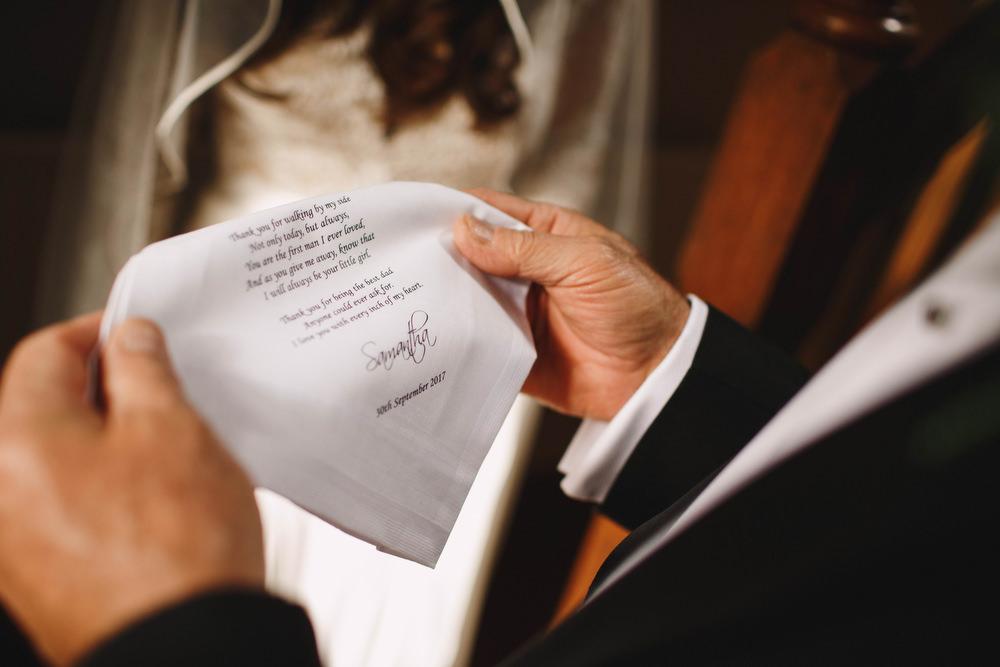 Cotswolds Royal Castle Summer Autumn Traditional Classic Elegant Bride Handkerchief Poem Dad | Sudeley Castle Wedding ARJ Photography