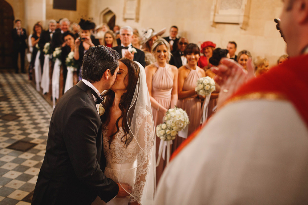 Cotswolds Royal Castle Summer Autumn Traditional Classic Elegant Groom Bride Ceremony Church Vows Kiss | Sudeley Castle Wedding ARJ Photography