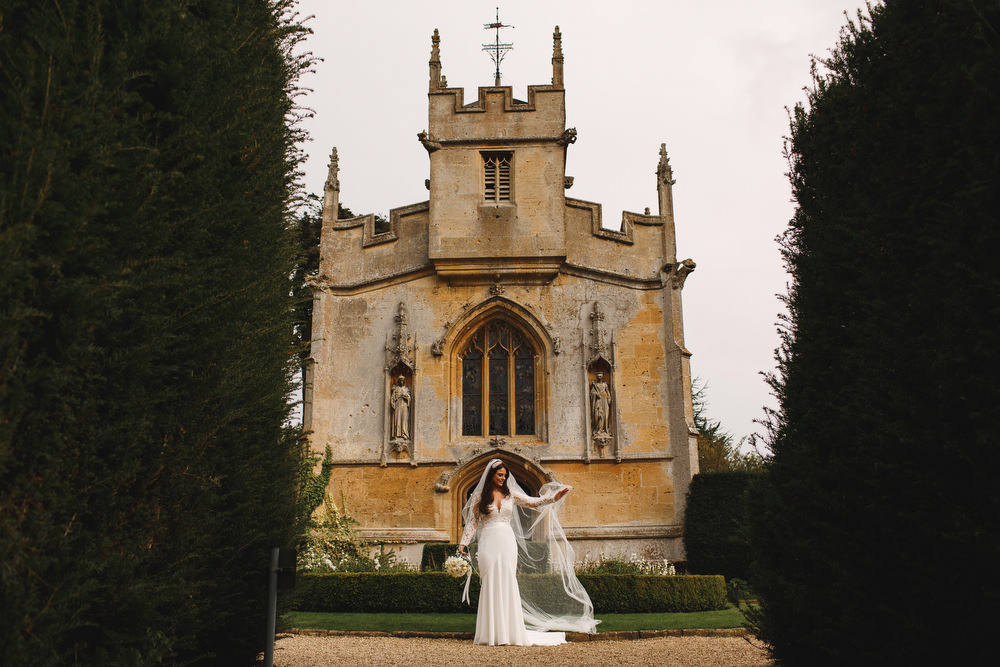 Cotswolds Royal Castle Summer Autumn Traditional Classic Elegant Bride Long Sleeve Suzanne Neville Veil | Sudeley Castle Wedding ARJ Photography