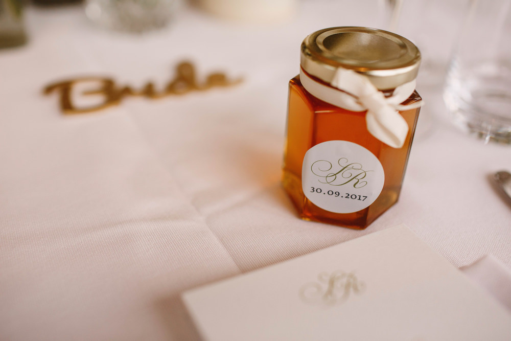 Cotswolds Royal Castle Summer Autumn Traditional Classic Elegant Simple White Decor Mini Honey Favour | Sudeley Castle Wedding ARJ Photography