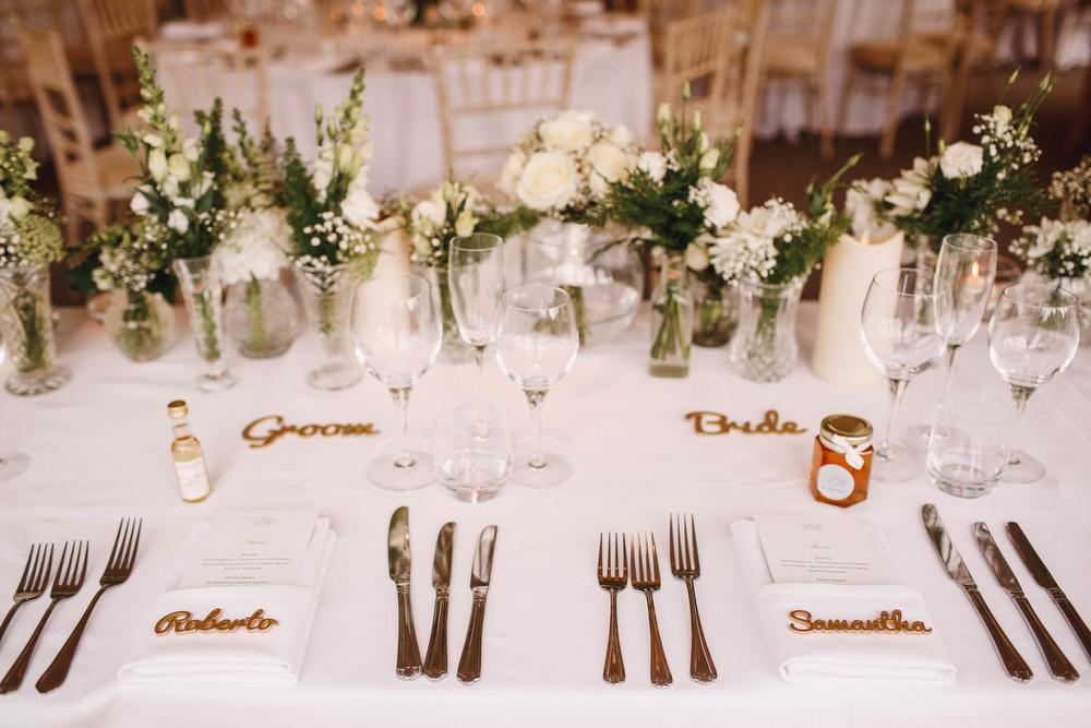 Cotswolds Royal Castle Summer Autumn Traditional Classic Elegant Simple White Decor Laser Cut Place Card Mini Wine Honey Favours | Sudeley Castle Wedding ARJ Photography