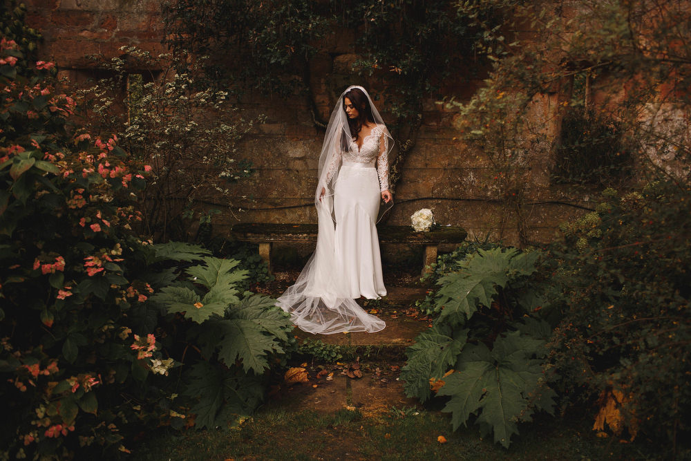 Cotswolds Royal Castle Summer Autumn Traditional Classic Elegant Ivy Bride Portraits Long Sleeve Lace Suzanne Neville | Sudeley Castle Wedding ARJ Photography