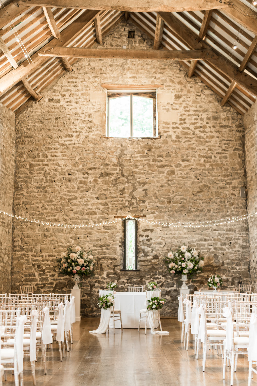 Fairy Lights Flowers Ceremony Aisle Tythe Barn Priston Mill Wedding Eleanor Jane Photography