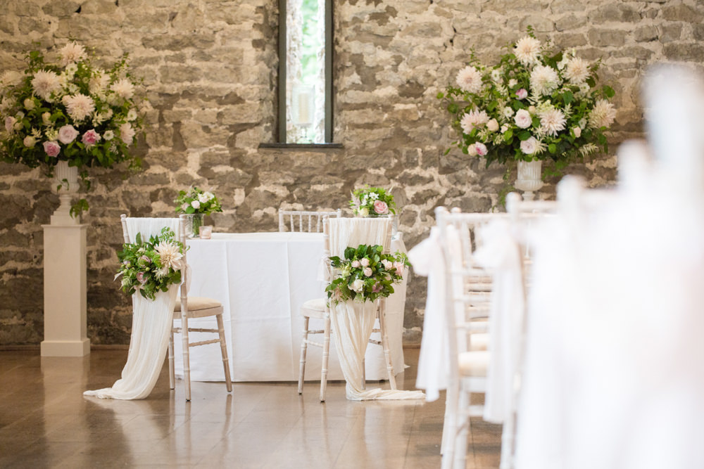 Tall Table Arrangements Centrepiece Flowers Blush Pink White Dahlia Cafe Au Lait Rose Sweet Peas Ceremony Tythe Barn Priston Mill Wedding Eleanor Jane Photography