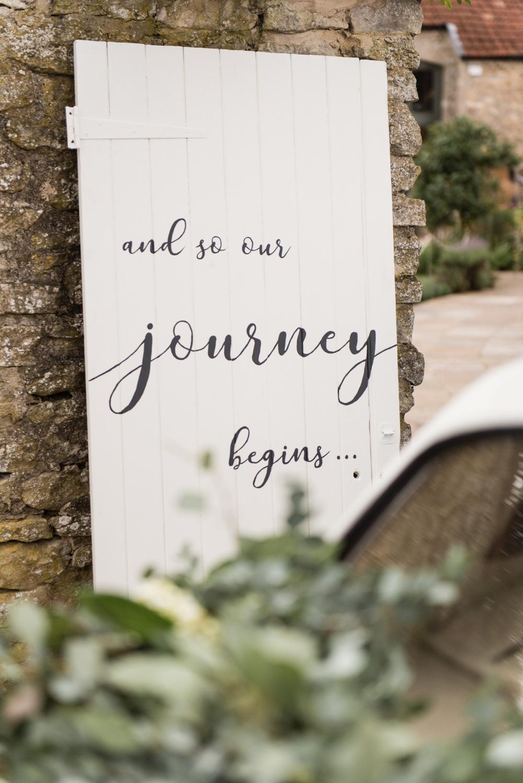 Painted Wooden Door Sign Journey Begins Tythe Barn Priston Mill Wedding Eleanor Jane Photography