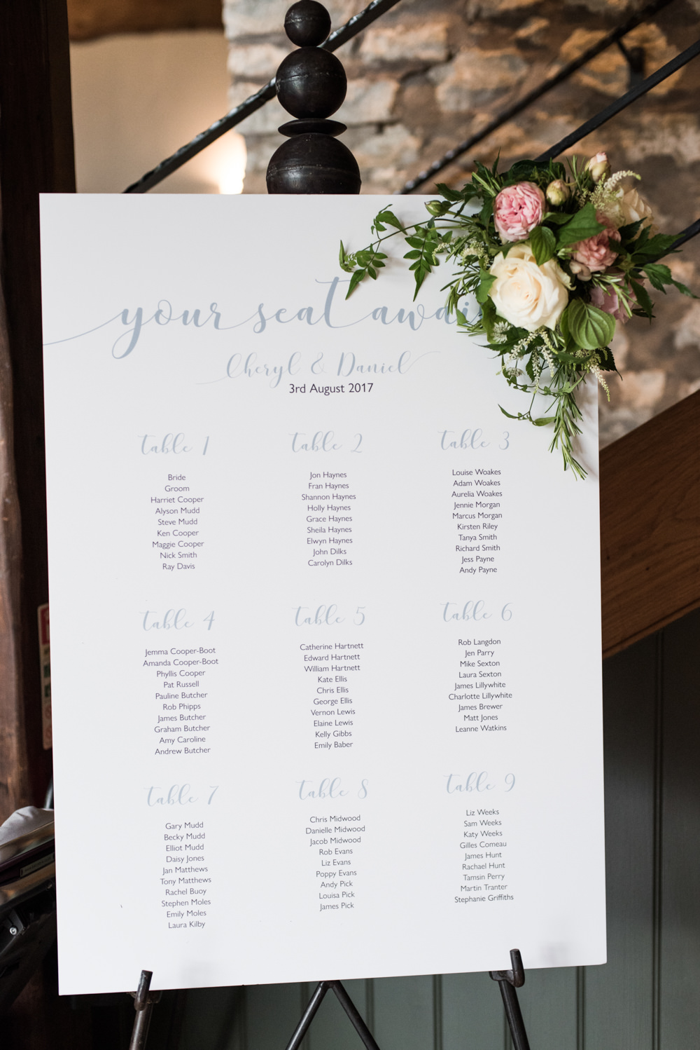 Blue Calligraphy Paper Card Seating Plan Table Chart Flowers Floral Tythe Barn Priston Mill Wedding Eleanor Jane Photography