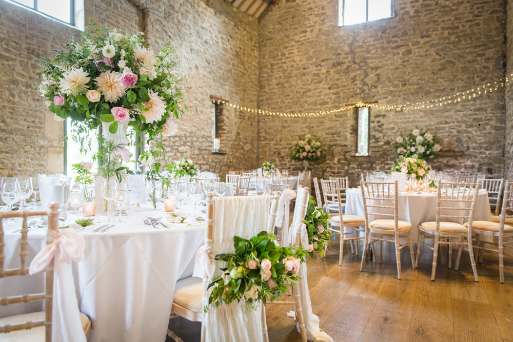 Tall Table Arrangements Centrepiece Flowers Blush Pink White Dahlia Cafe Au Lait Rose Sweet Peas Tythe Barn Priston Mill Wedding Eleanor Jane Photography