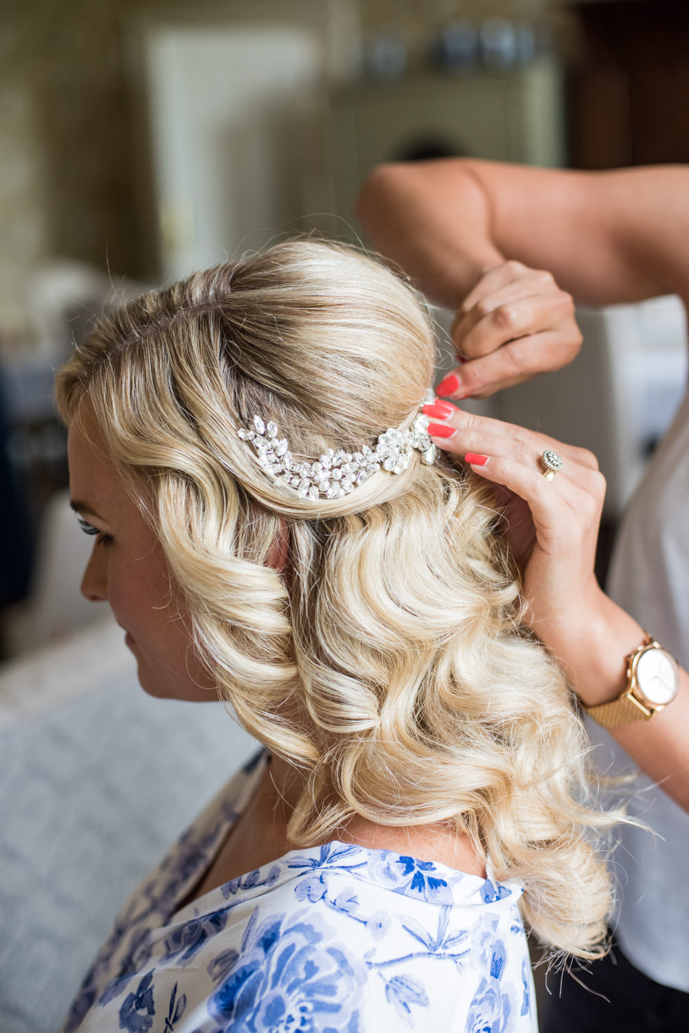 Hair Bride Bridal Accessory Waves Up Do Style Tythe Barn Priston Mill Wedding Eleanor Jane Photography