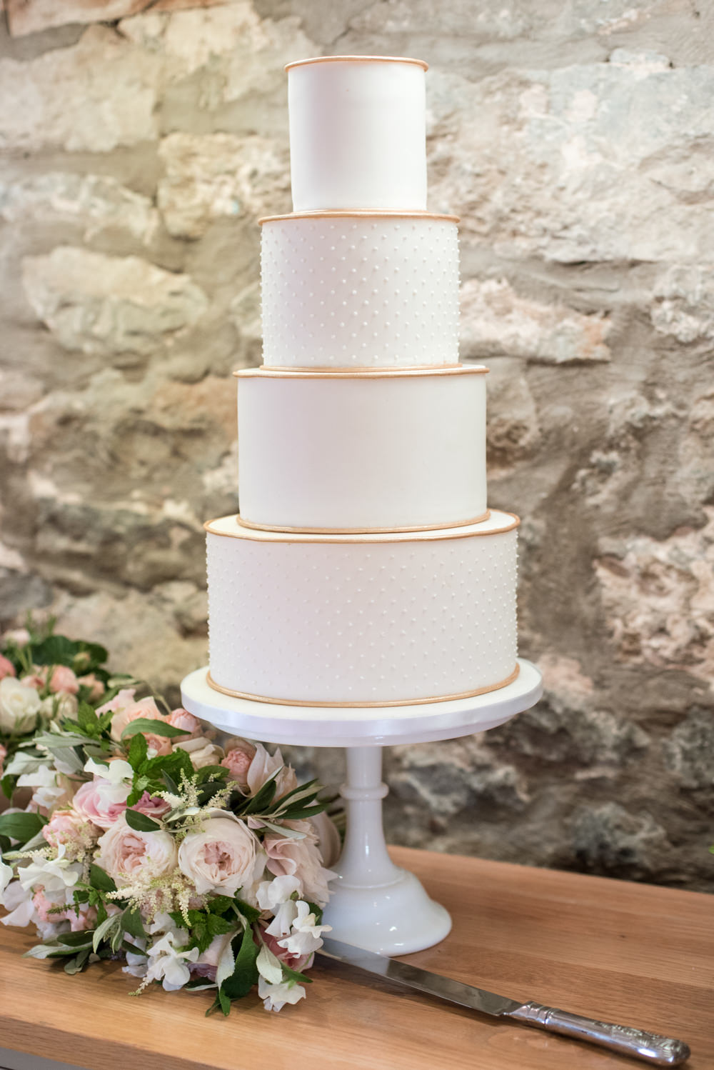 White Gold Cake Polka Dots Tythe Barn Priston Mill Wedding Eleanor Jane Photography