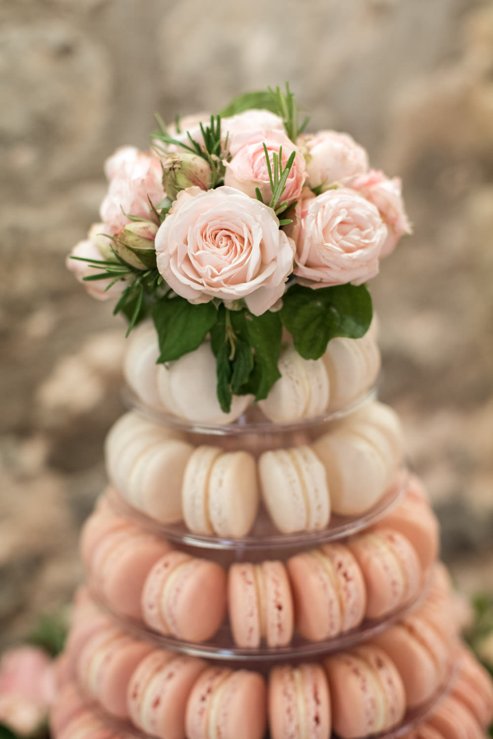 Pink Ombre Macaron Tower Cake Roses Tythe Barn Priston Mill Wedding Eleanor Jane Photography