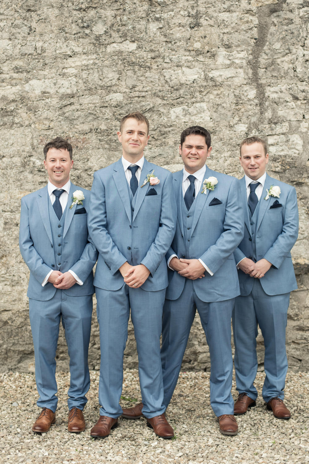 Groom Groomsmen Pale Blue Suits Ties Tan Shoes Tythe Barn Priston Mill Wedding Eleanor Jane Photography