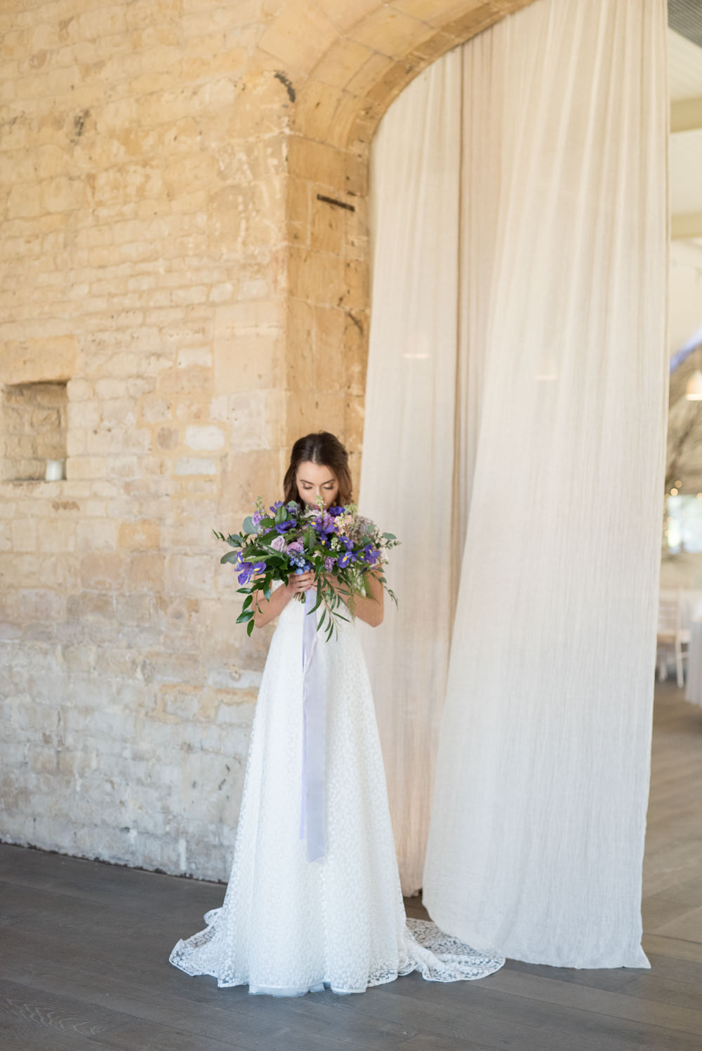 Dress Gown Bride Bridal Floral Lace Short Sleeves Train Ultra Violet Wedding Moon Gate Flower Arch Captured by Katrina Photography