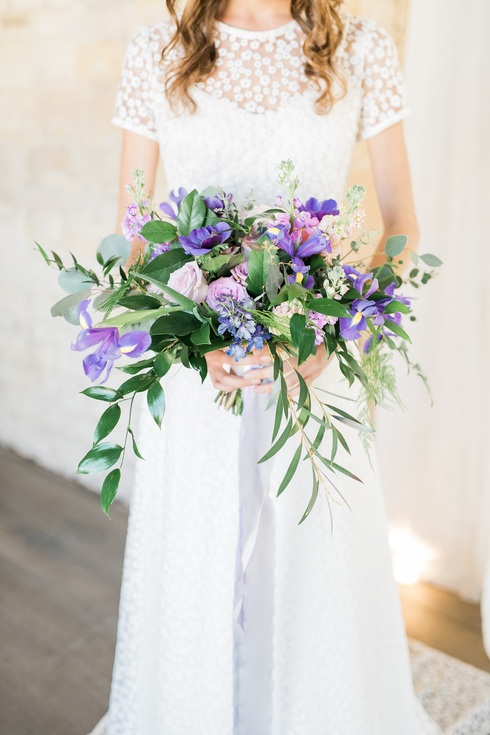 Bouquet Flowers Bride Bridal Purple Lilac Iris Rose Greenery Foliage Silk Ribbons Ultra Violet Wedding Moon Gate Flower Arch Captured by Katrina Photography