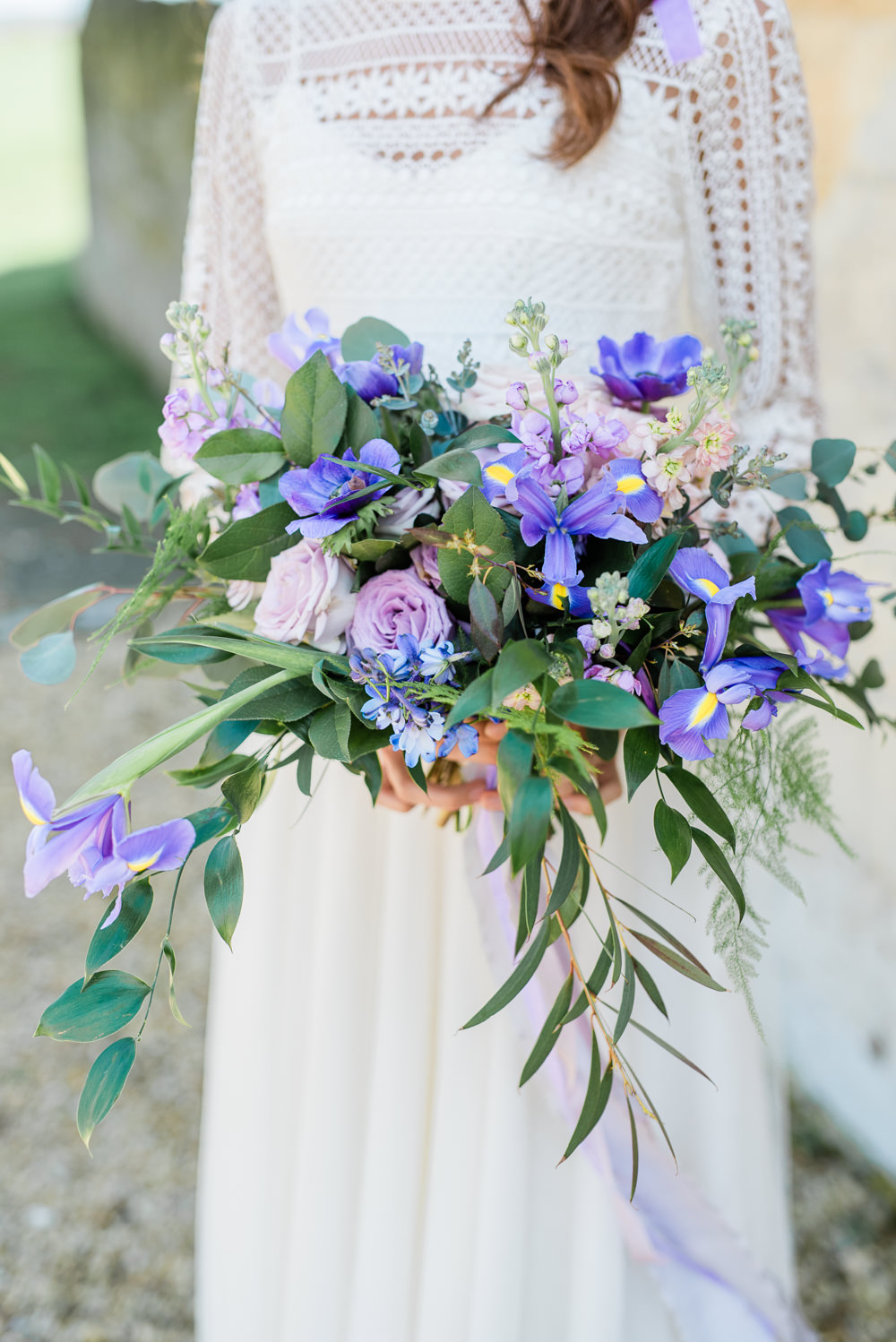 Bouquet Flowers Bride Bridal Purple Lilac Iris Rose Greenery Foliage Ultra Violet Wedding Moon Gate Flower Arch Captured by Katrina Photography