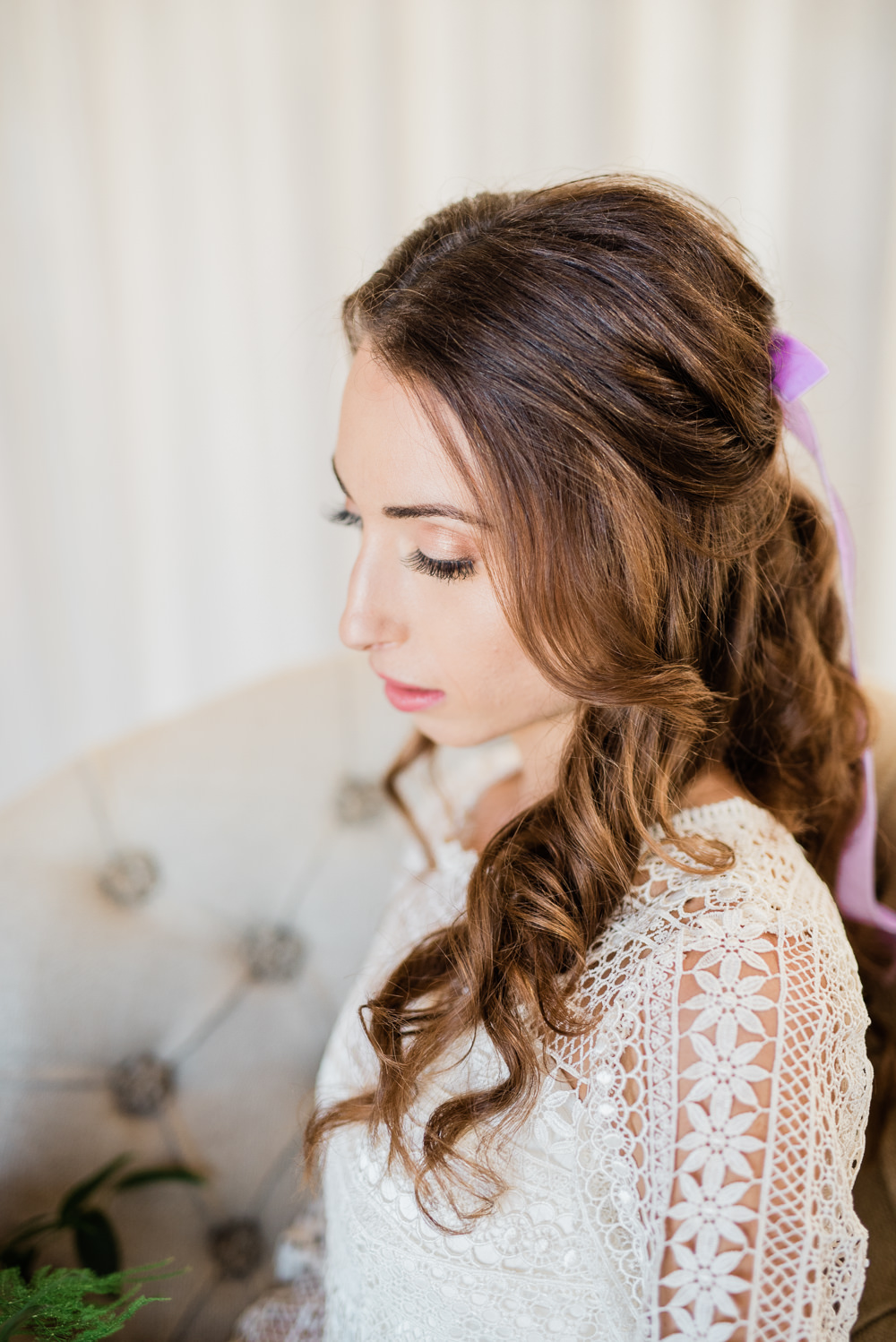 Bride Bridal Make Up Beauty Hair Style Waves Velvet Ribbon Bow Ultra Violet Wedding Moon Gate Flower Arch Captured by Katrina Photography