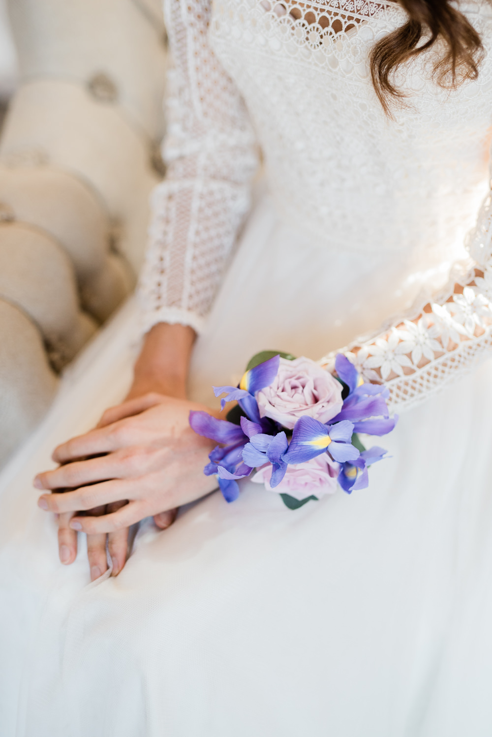 Wrist Corsage Flowers Bride Bridal Ultra Violet Wedding Moon Gate Flower Arch Captured by Katrina Photography