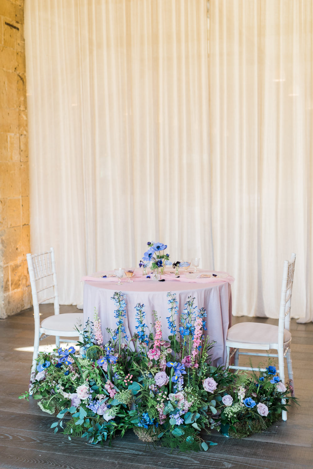 Table Tablescape Purple Lilac Cloth Meadow Arrangement Decor Ultra Violet Wedding Moon Gate Flower Arch Captured by Katrina Photography