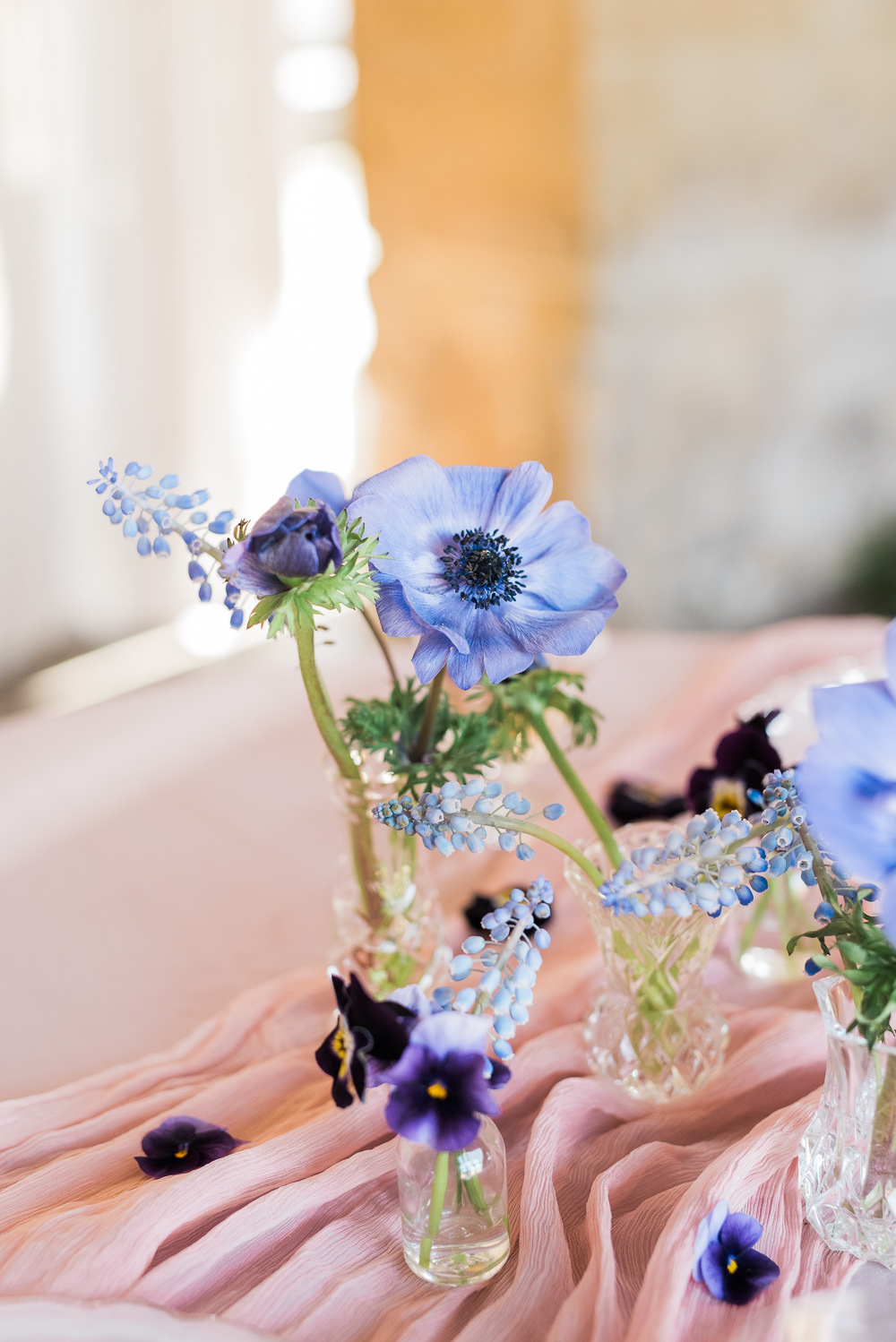 Blue Lilac Flowers Jars Bottles Vase Grape Hyacinth Ultra Violet Wedding Moon Gate Flower Arch Captured by Katrina Photography