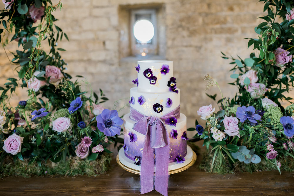 Cake Petals Gold Leaf Velvet Ribbon Lilac Purple Ultra Violet Wedding Moon Gate Flower Arch Captured by Katrina Photography