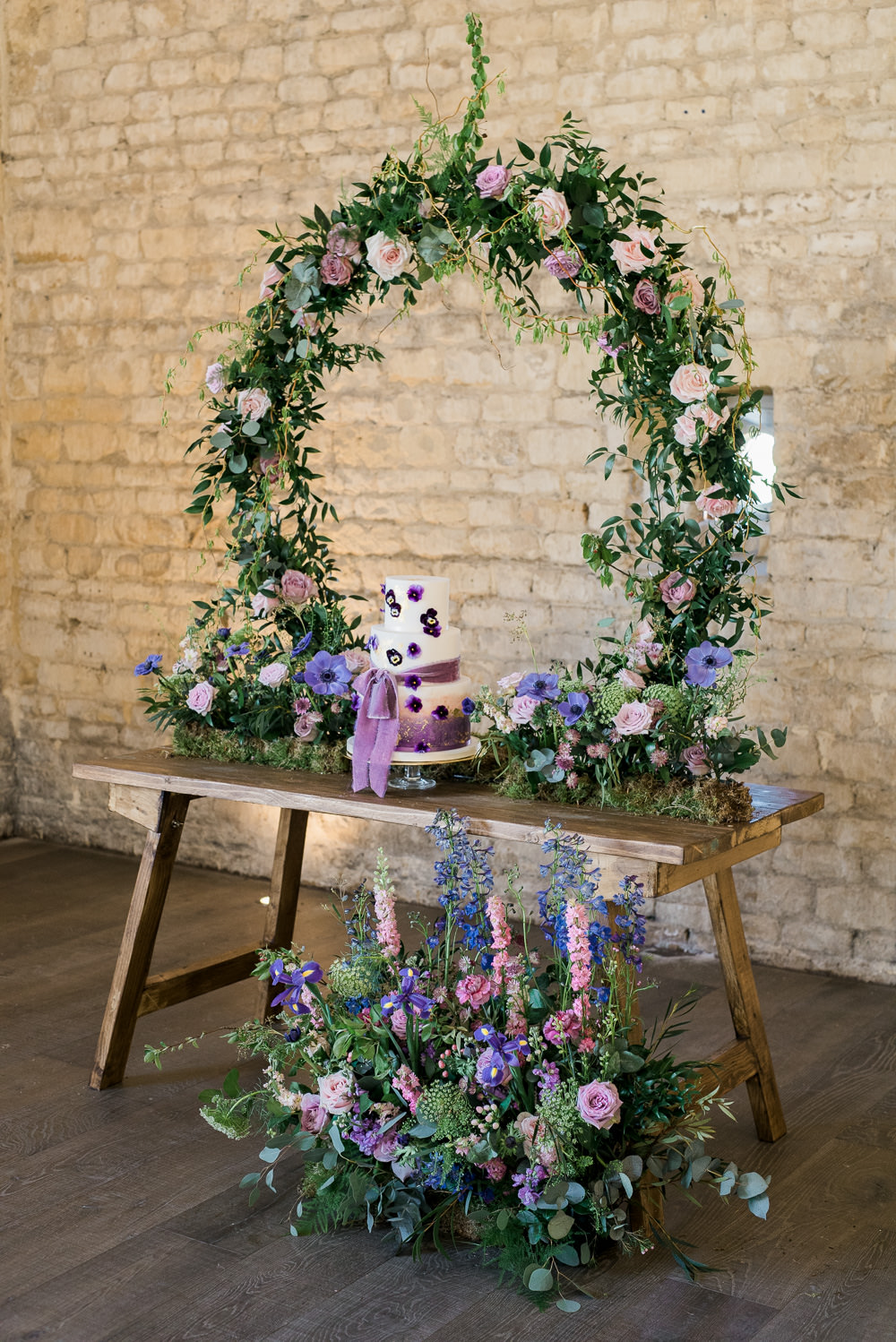 Backdrop Lilac Greenery Hoop Wreath Foliage Table Meadow Ultra Violet Wedding Moon Gate Flower Arch Captured by Katrina Photography