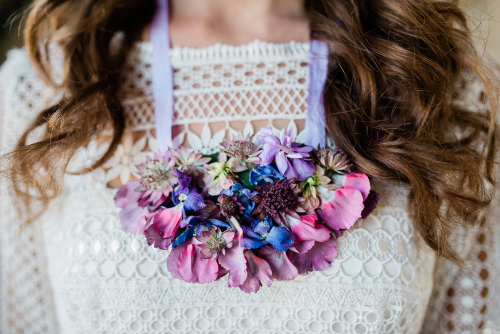 Floral Necklace Bride Bridal Ultra Violet Wedding Moon Gate Flower Arch Captured by Katrina Photography