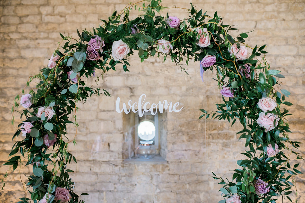 Perspex Acrylic Welcome Sign Calligraphy Backdrop Lilac Greenery Hoop Wreath Foliage Table Meadow Purple Ultra Violet Wedding Moon Gate Flower Arch Captured by Katrina Photography