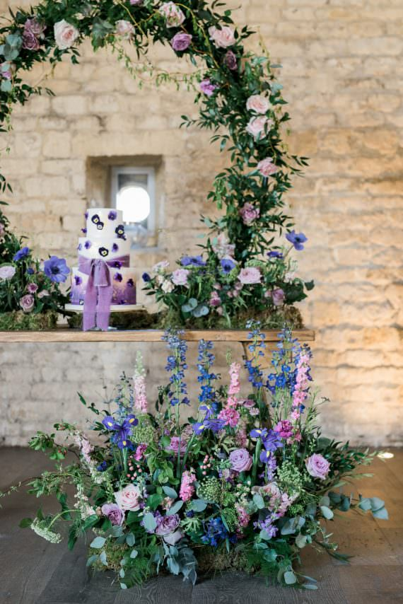 Backdrop Lilac Greenery Hoop Wreath Foliage Table Meadow Purple Ultra Violet Wedding Moon Gate Flower Arch Captured by Katrina Photography