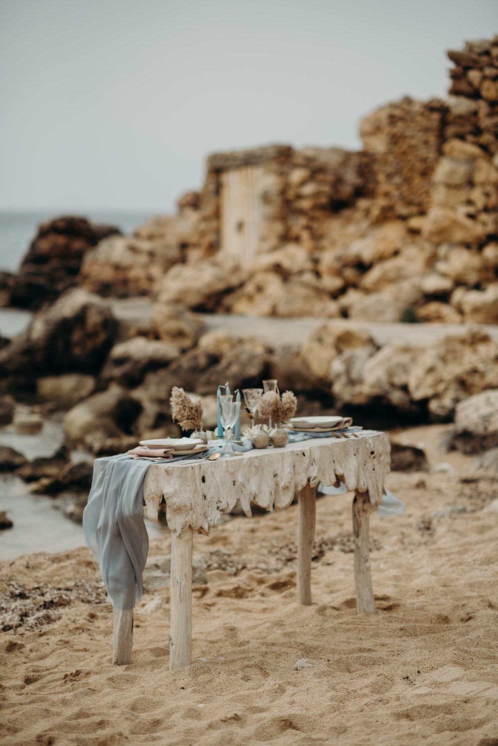 Outdoor Wild Nature Destination Spain Europe Coastal Beach Table Styling | Blue Ibiza Elopement Ideas and Surprise Proposal Serena Genovese Photography