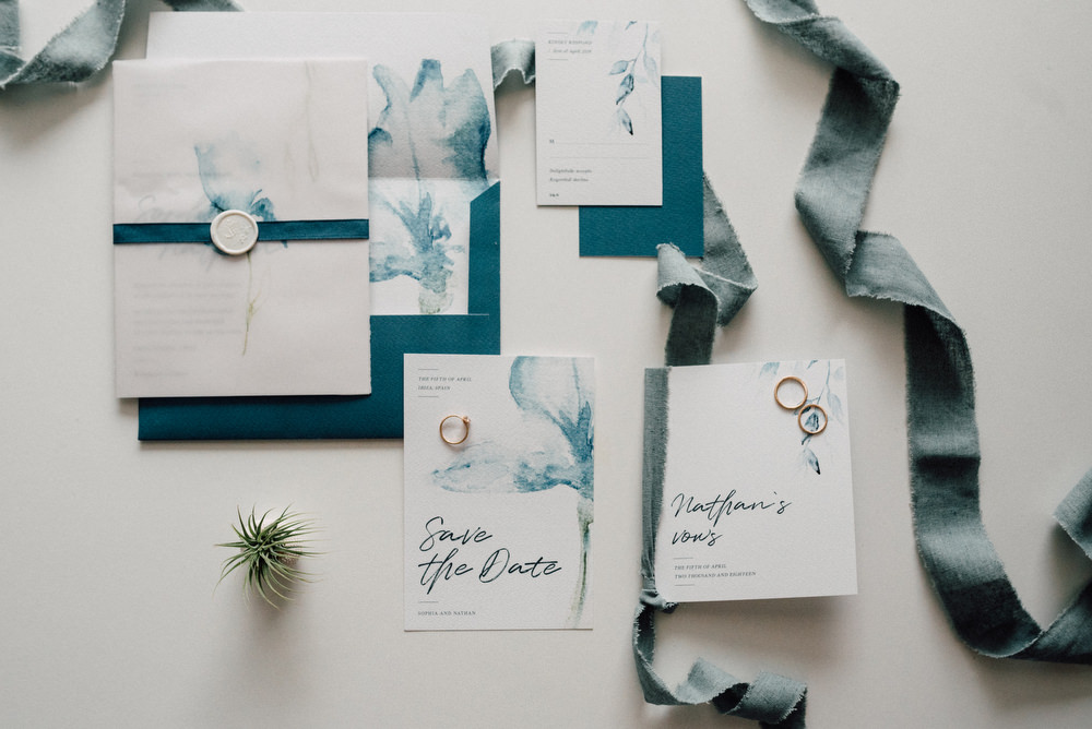 Outdoor Wild Nature Destination Spain Europe Coastal Styled Shoot Beach Stationery Watercolor Styling White Wax Seal | Blue Ibiza Elopement Ideas and Surprise Proposal Serena Genovese Photography