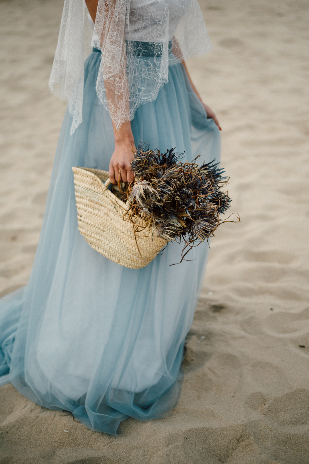 Outdoor Wild Nature Destination Spain Europe Coastal Styled Shoot Bride Blue Gown Lace Sea Holly | Blue Ibiza Elopement Ideas and Surprise Proposal Serena Genovese Photography
