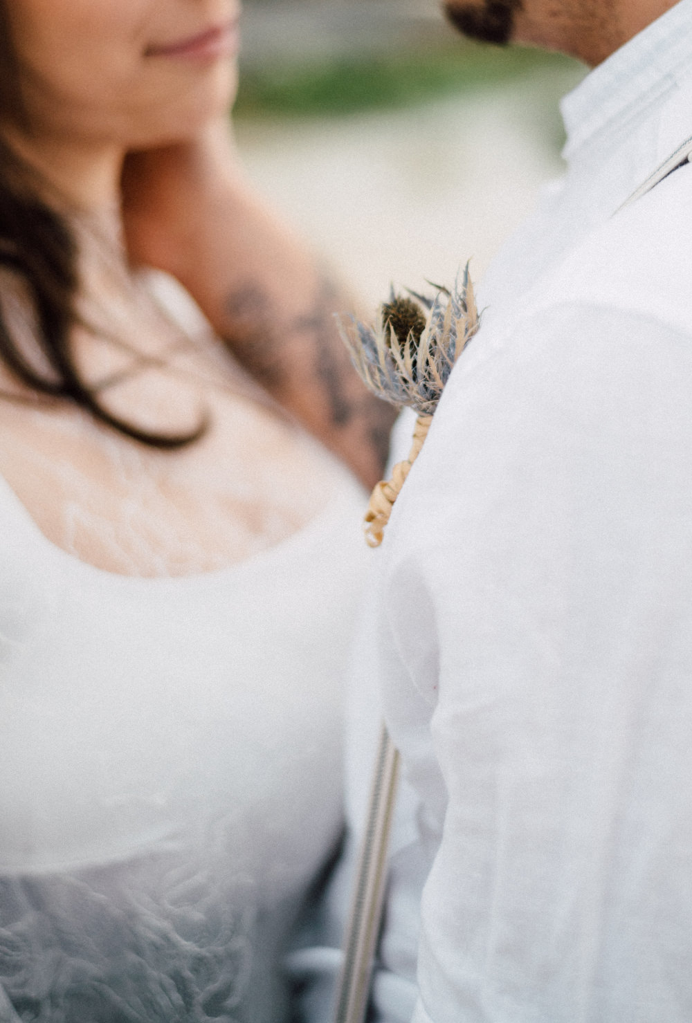 Outdoor Wild Nature Destination Spain Europe Beach Styled Shoot Groom Braces Bride Blue Gown Lace Sea Holly Buttonhole | Blue Ibiza Elopement Ideas and Surprise Proposal Serena Genovese Photography