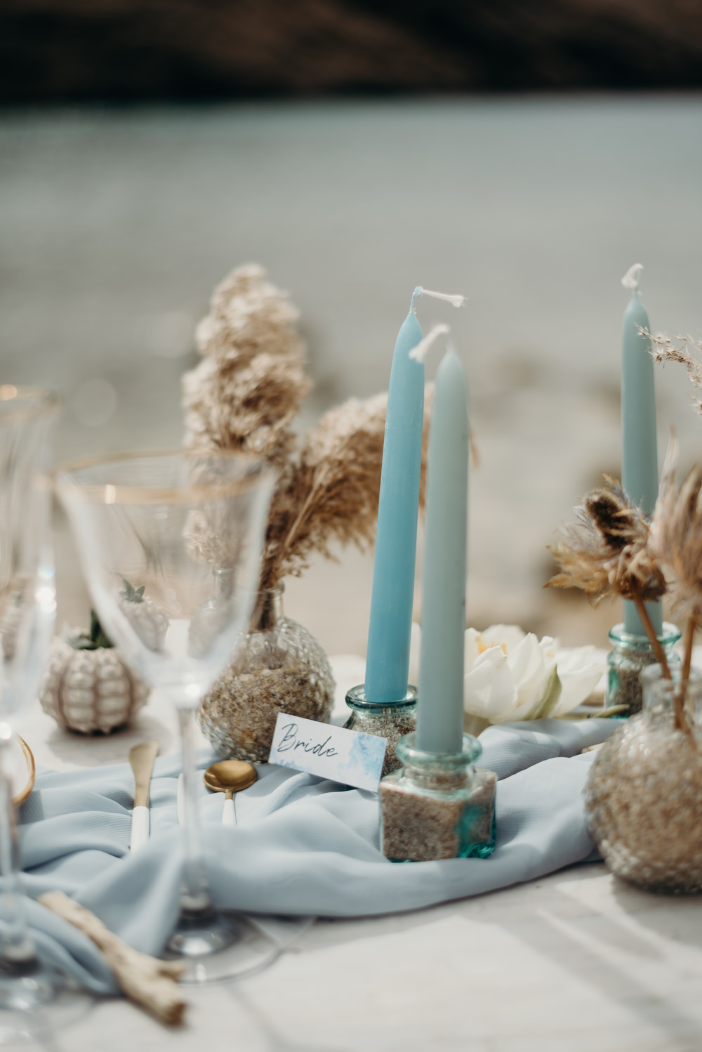 Outdoor Wild Nature Destination Spain Europe Coastal Styled Shoot Beach Table Elegant Styling | Blue Ibiza Elopement Ideas and Surprise Proposal Serena Genovese Photography