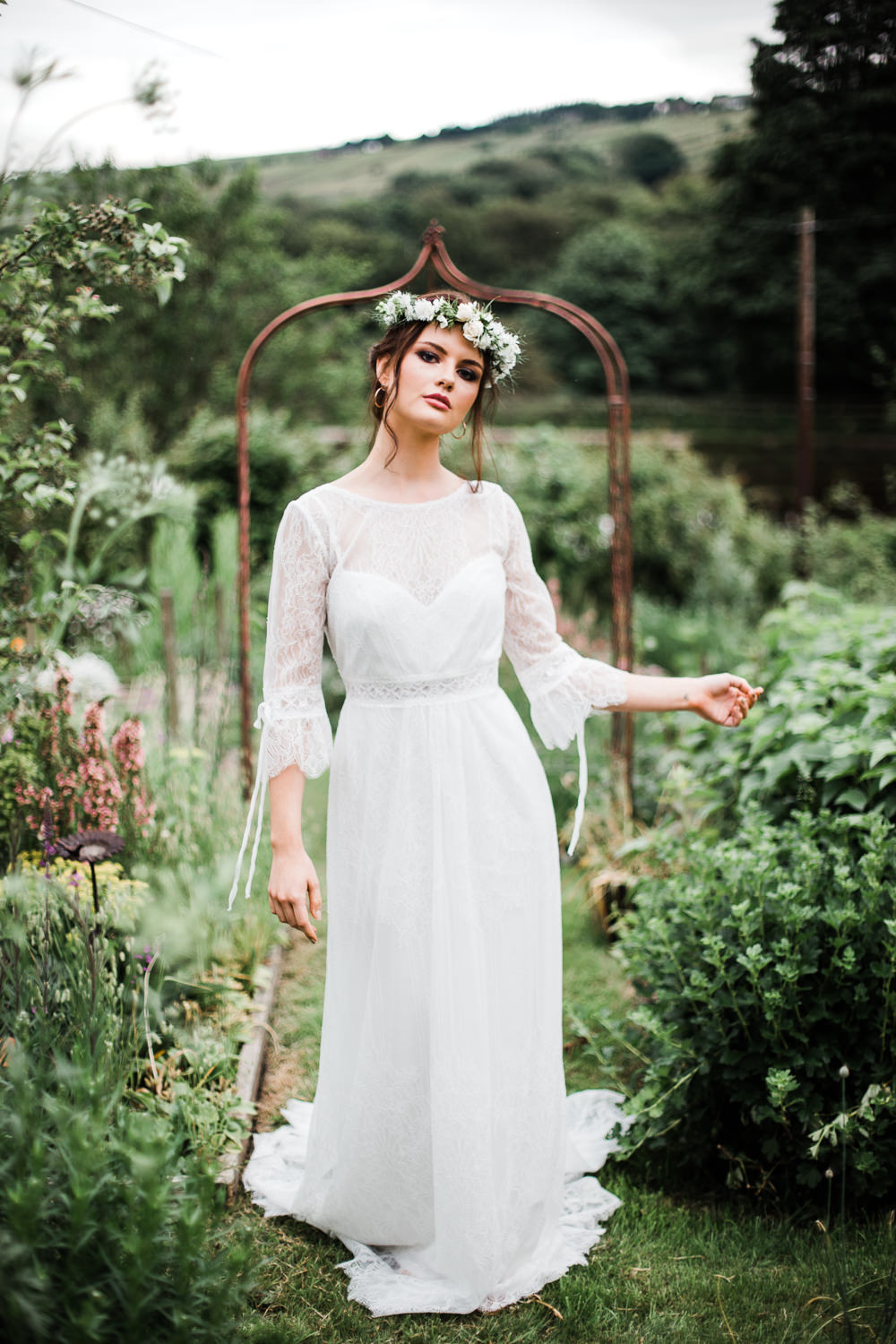 Bride Bridal Dress Gown Sleeves Belt Train Colourful Bohemian Floral Wedding Ideas Anna Beth Photography