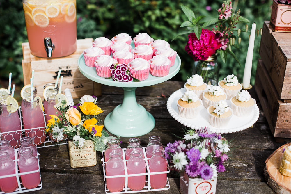 Cake Dessert Treats Cupcakes Drinks Table Station Stand Colourful Bohemian Floral Wedding Ideas Anna Beth Photography
