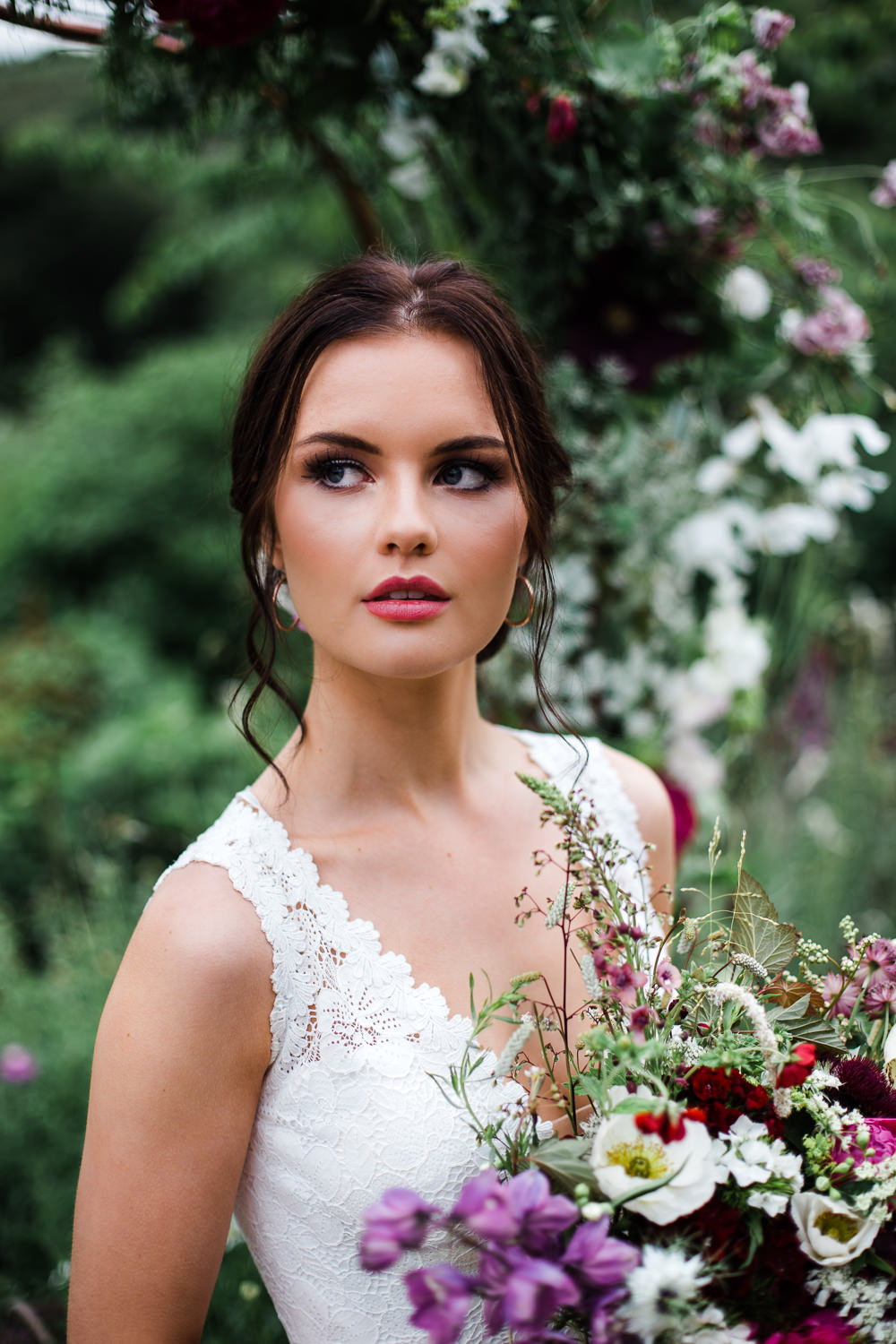 Bride Bridal Make Up Beauty Colourful Bohemian Floral Wedding Ideas Anna Beth Photography