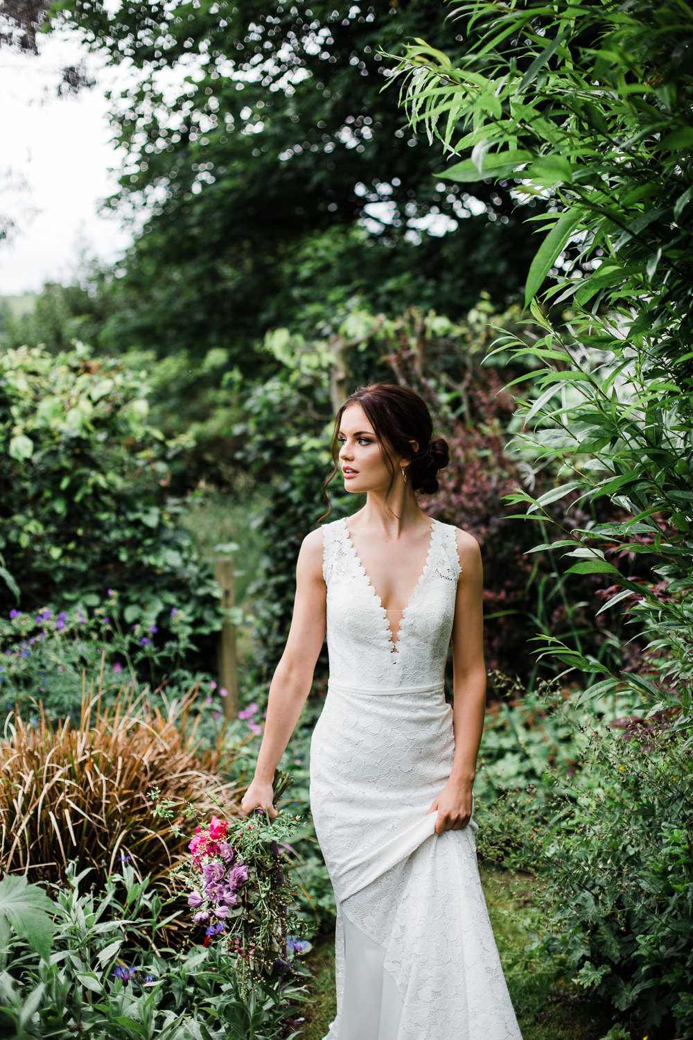 Bride Bridal Dress Gown Lace Train Plunge Colourful Bohemian Floral Wedding Ideas Anna Beth Photography