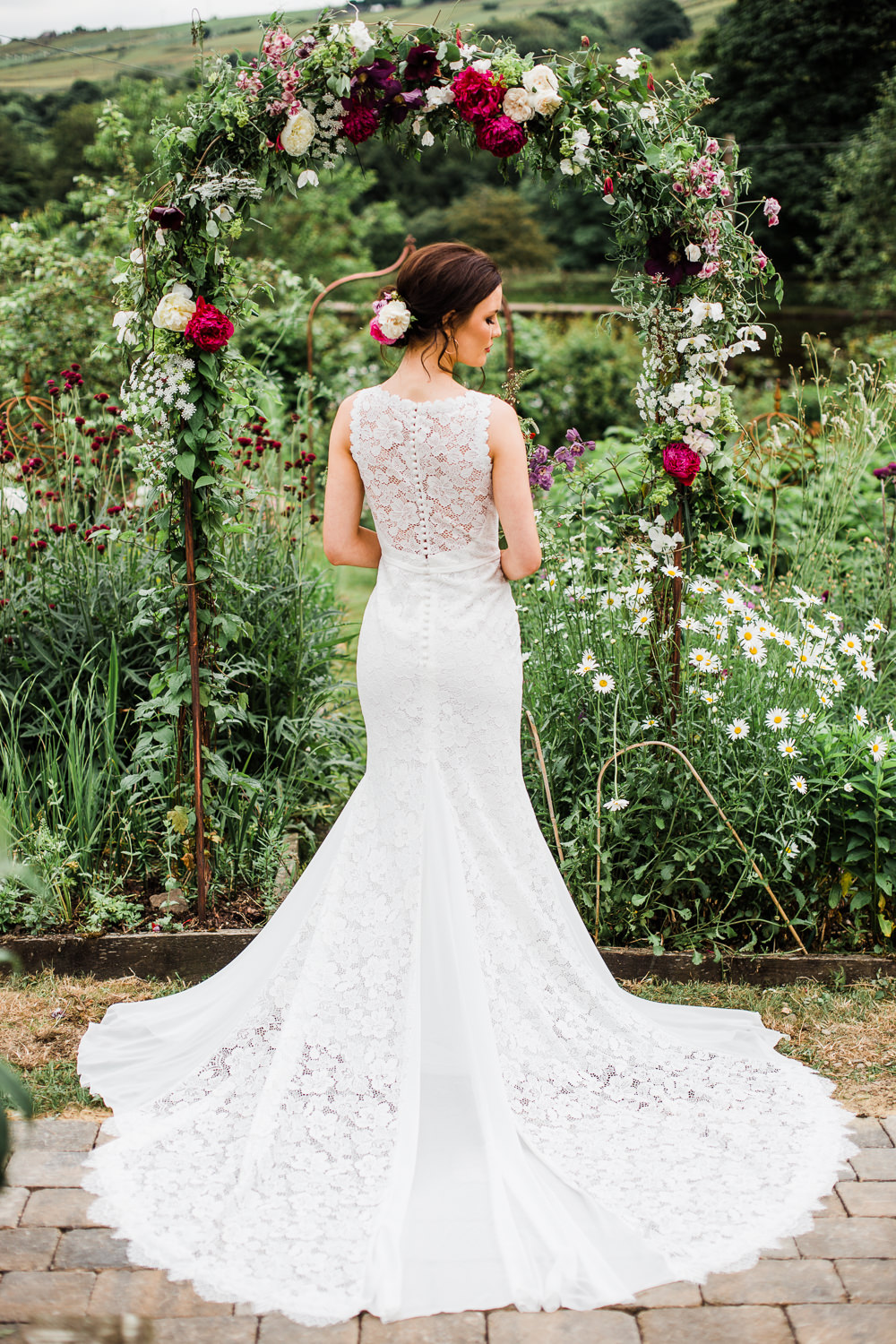 Bride Bridal Dress Gown Lace Train Colourful Bohemian Floral Wedding Ideas Anna Beth Photography