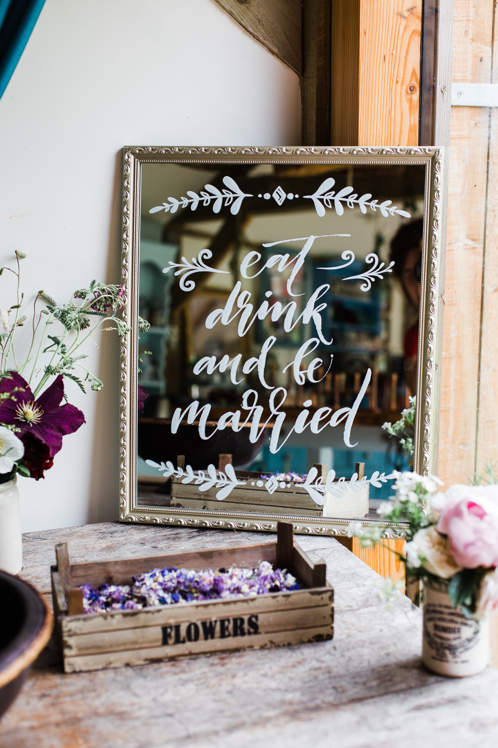 Mirror Sign Calligraphy Colourful Bohemian Floral Wedding Ideas Anna Beth Photography