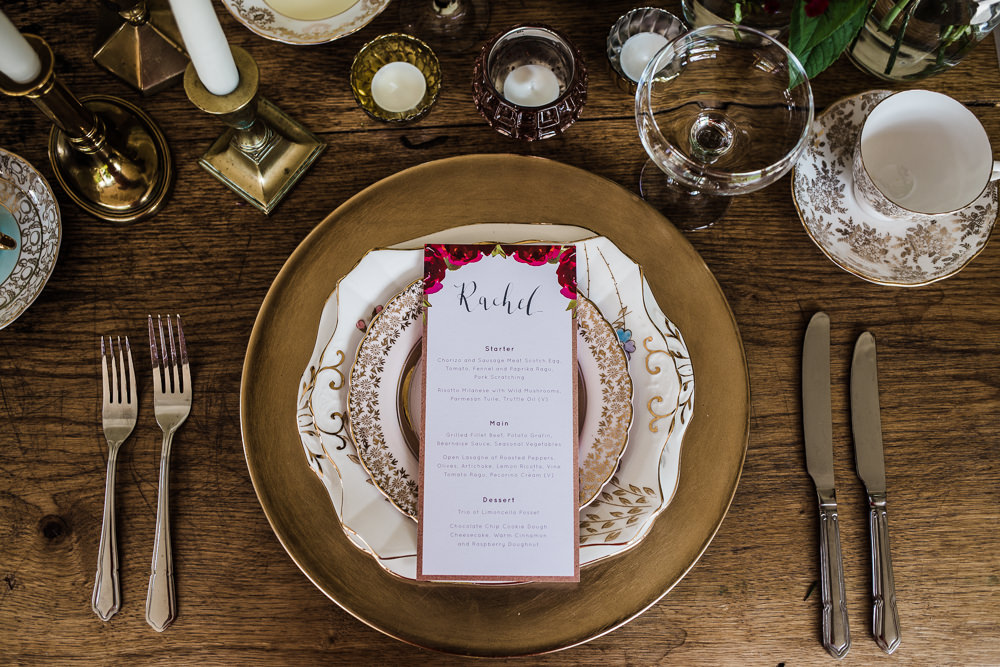 Place Setting Gold Plate Menu Colourful Bohemian Floral Wedding Ideas Anna Beth Photography