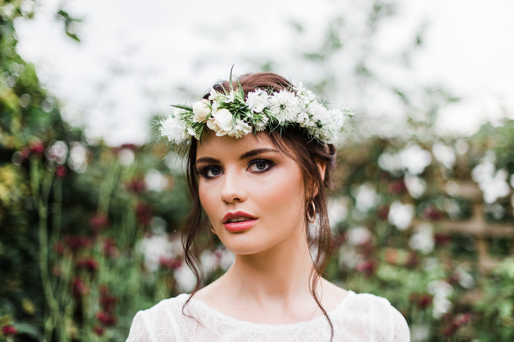 Bride Bridal Flower Crown Headdress Accessory Colourful Bohemian Floral Wedding Ideas Anna Beth Photography