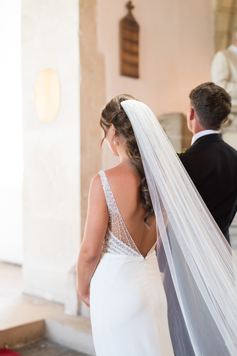 Bride Bridal Gown Dress Sequin Embellished Low V Back Cathedral Veil Elegant Chic Modern Wedding Kayleigh Pope Photography
