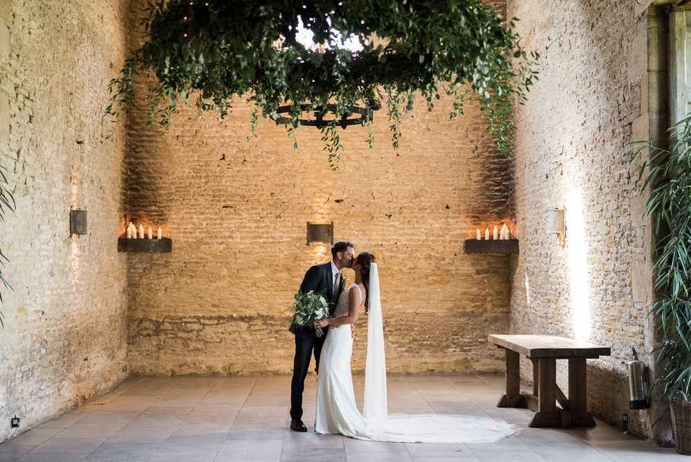 Bride Bridal Embellished Sequin Boat Neck Sleeveless Veil Bouquet Greenery White Reiss Waistcoat Groom Navy Greenery Foliage Chandelier Candles Elegant Chic Modern Wedding Kayleigh Pope Photography