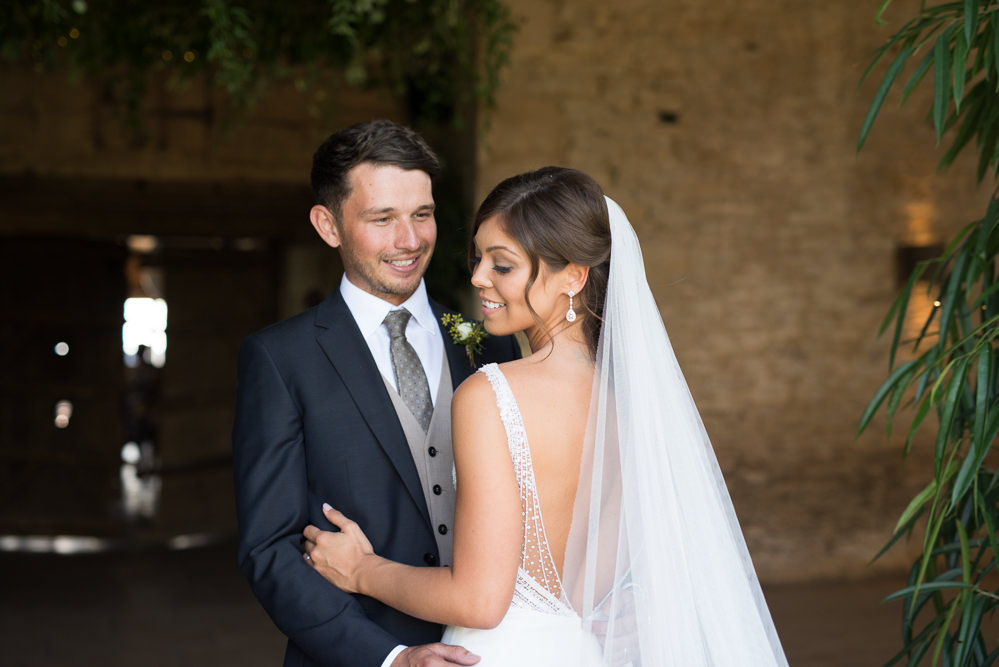 Bride Bridal Embellished Sequin Boat Neck Sleeveless Low V Back Veil Bouquet Greenery White Reiss Waistcoat Groom Navy Elegant Chic Modern Wedding Kayleigh Pope Photography