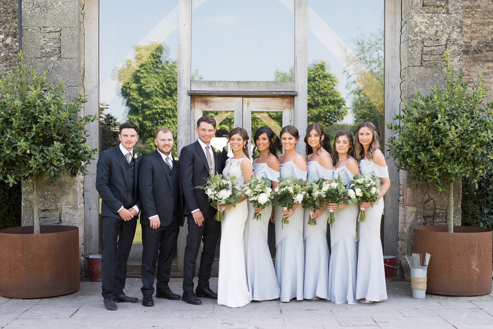 Bride Bridal Embellished Sequin Boat Neck Sleeveless Veil Bouquet Greenery White Reiss Waistcoat Groom Navy Grey Off Shoulder Bridesmaids Dress Gown Elegant Chic Modern Wedding Kayleigh Pope Photography